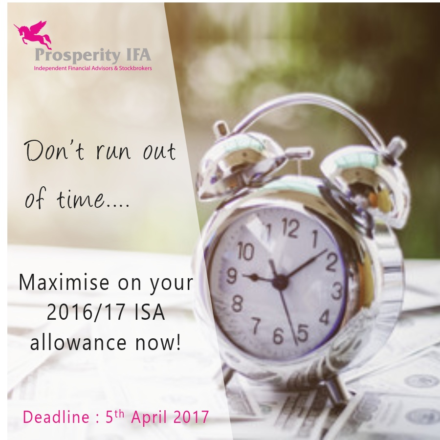 Don't lose your 2016/17 Tax Free ISA Allowance